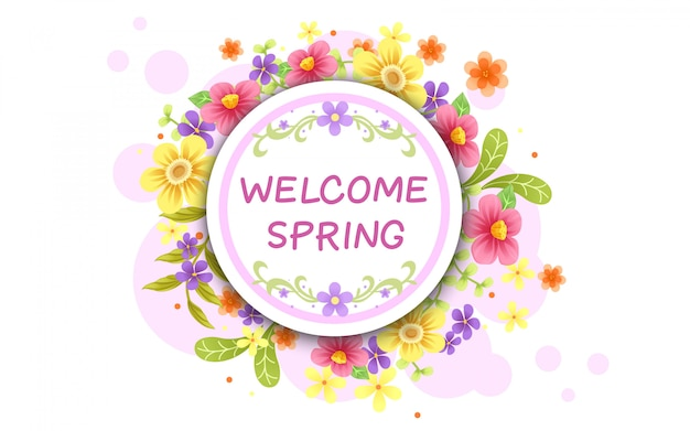 Welcome spring background design, vector illustration
