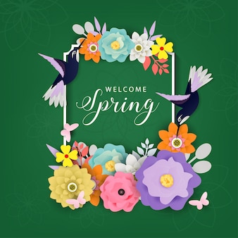 Welcome spring background vector