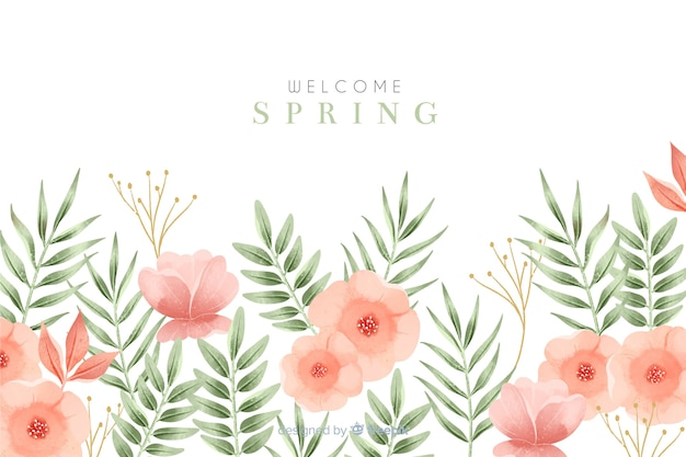 Welcome spring background with flowers