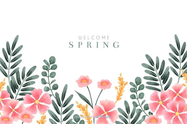 Welcome spring background with watercolor flowers