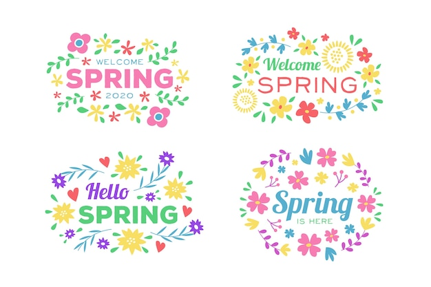 Welcome spring badge collection with colourful flowers and leaves