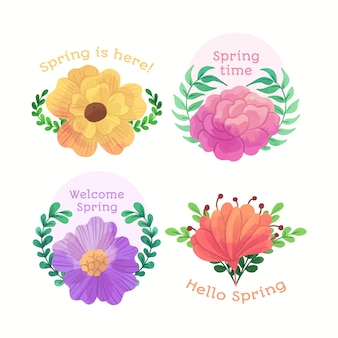 Welcome spring badges in watercolour design