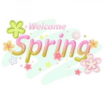 Welcome spring font vector
