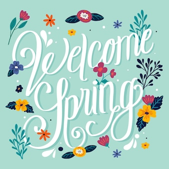 Welcome spring lettering design with flowers