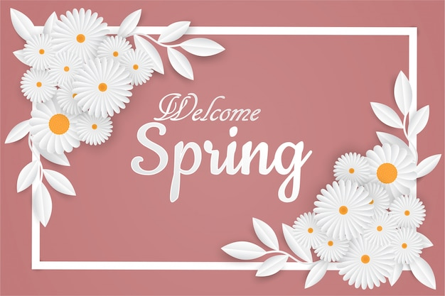 Welcome spring lettering with flowers frame
