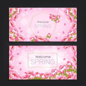 Welcome spring with flower pattern background