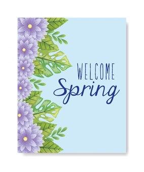 Primavera di benvenuto con decorazioni di fiori e foglie