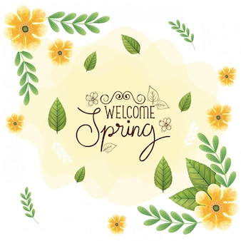 Welcome spring with frame of flowers and leaves decoration
