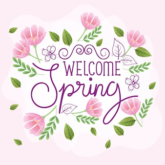 Welcome spring with frame of flowers and leaves