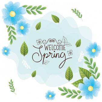 Benvenuto primavera con cornice di fiori e foglie