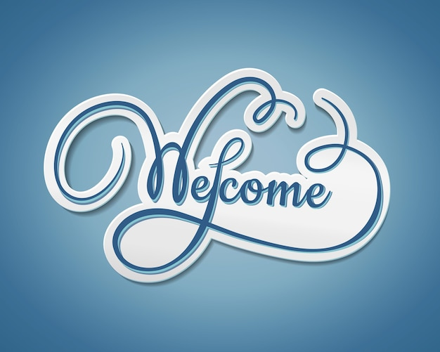 Welcome sticker with swirling text with a paper effect and shadow