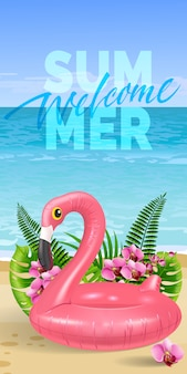Welcome summer banner with palm leaves, pink flowers, toy flamingo, beach and ocean.