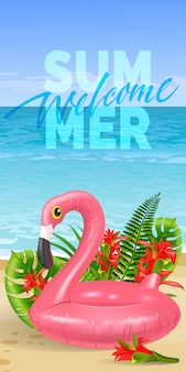 Welcome summer banner with tropical leaves, red flowers, pink toy flamingo, beach