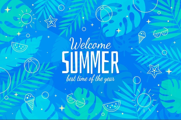 Welcome summer best season flat design background