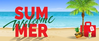 Welcome summer, big sale, banner. Cold drink, pineapple, sunglasses, palm, red bag, beach