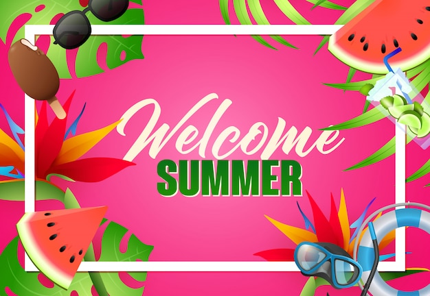 Welcome summer bright poster design. diving mask