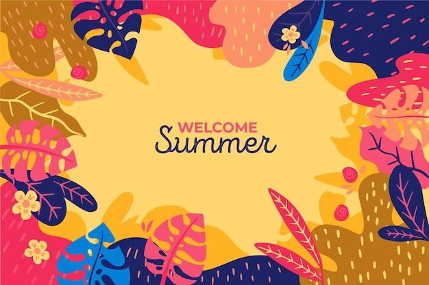 Welcome summer colourful leaves background