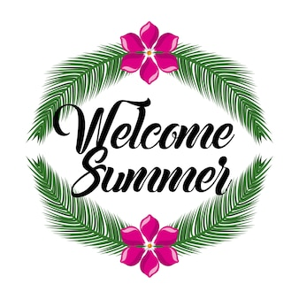Welcome summer flower and branch leaves palm decoration