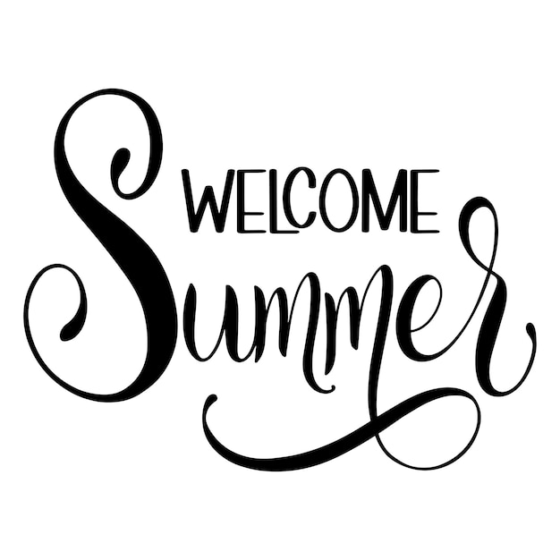 ようこそ夏のレタリング。招待状、ポスター、グリーティングカードの要素。季節のご挨拶