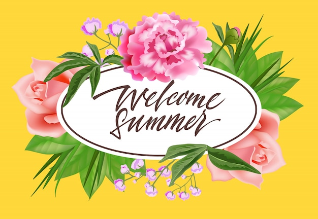 Welcome summer lettering in oval frame with flowers. summer offer or sale advertising