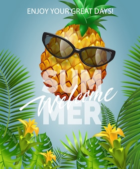Welcome summer lettering with pineapple in sunglasses. summer offer