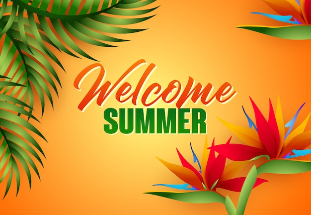 Welcome summer lettering with tropical leaves and flowers