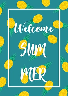 Welcome summer pineapple poster