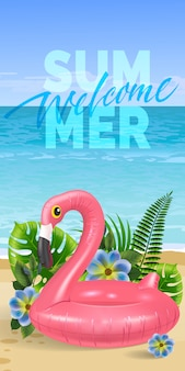 Welcome summer, seasonal banner with palm leaves, blue flowers, pink toy flamingo