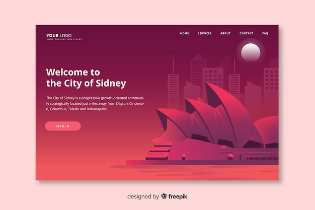 Welcome to sydney landing page template