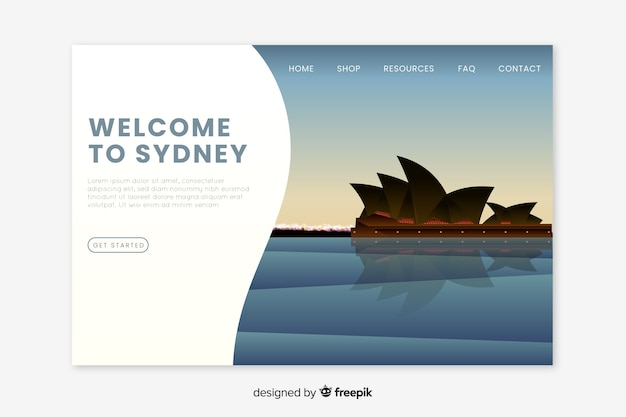 Welcome to sydney landing page