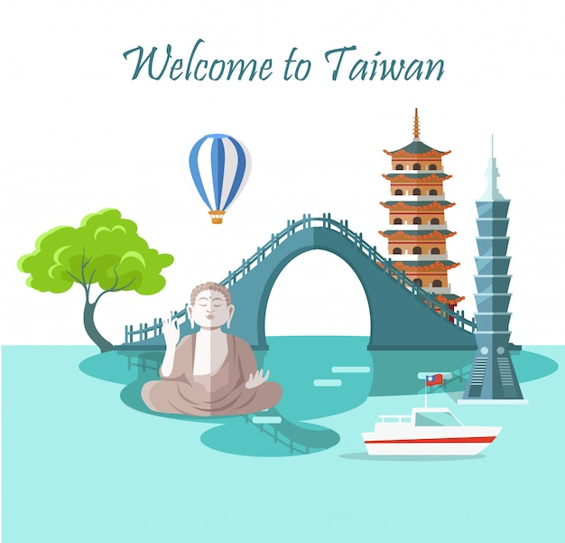 Welcome to taiwan greeting card with landmarks