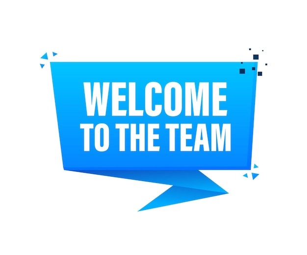 Welcome to the team megaphone blue banner in 3d style on white background
