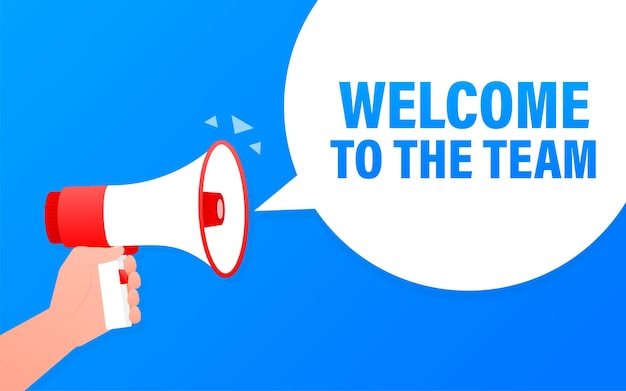 Welcome to the team megaphone blue banner