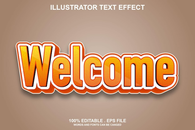 Welcome text effect editable