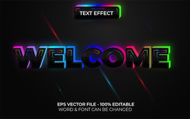 Welcome text effect neon style editable text effect colorful light theme