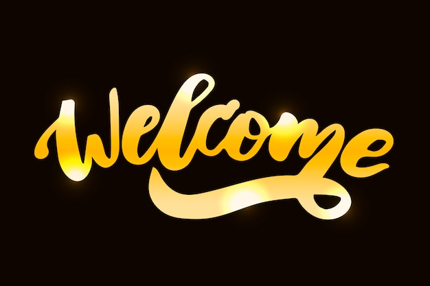 Welcome text lettering calligraphy phrase black