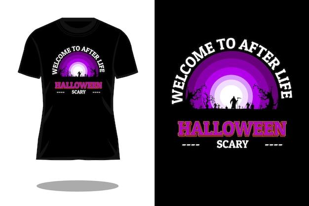 사후 생활 복고풍 빈티지 티셔츠 디자인에 오신 것을 환영합니다.