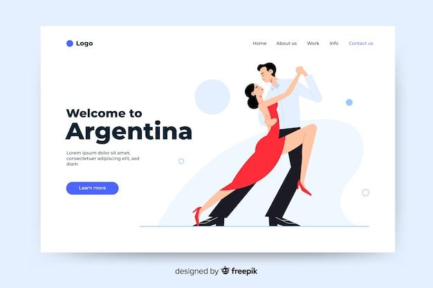 Добро пожаловать на целевую страницу аргентины с иллюстрациями