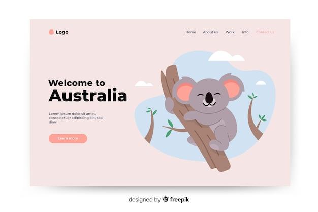 Добро пожаловать на целевую страницу австралии с иллюстрациями