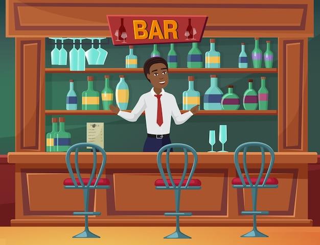 바 카페 또는 레스토랑 서 있는 바 케이터링 비즈니스 서비스 맨 소유자에 오신 것을 환영합니다.