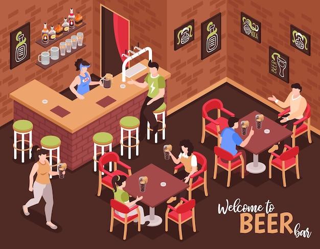 바텐더와 방문자가 테이블에 앉아 맥주를 마시는 맥주 바 아이소 메트릭 구성에 오신 것을 환영합니다.