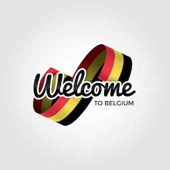 ベルギーへようこそ、白い背景の上のベクトル図
