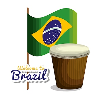 아이콘 벡터 일러스트 레이 션 디자인을 나타내는 브라질에 오신 것을 환영합니다