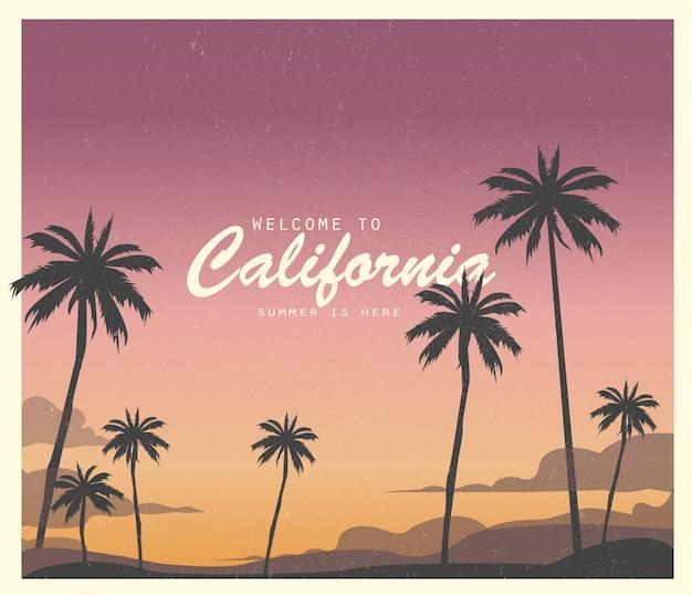 캘리포니아에 오신 것을 환영합니다. 여름이 여기에 있습니다. 삽화