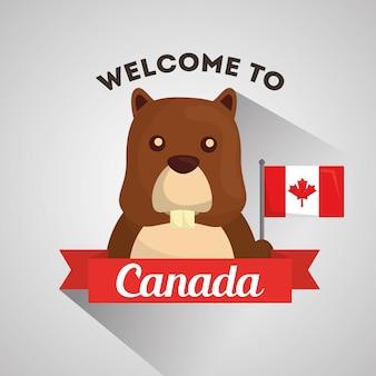 カナダのビーバー旗バナーを歓迎する