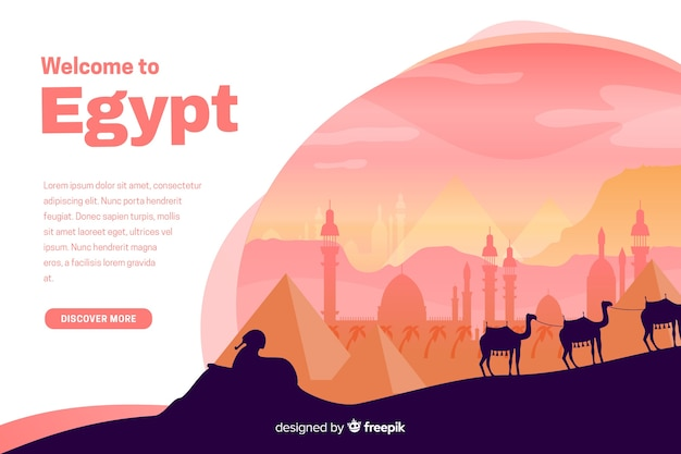 Добро пожаловать на целевую страницу египта с иллюстрациями