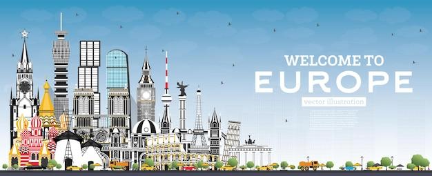 회색 건물과 푸른 하늘이 있는 유럽 스카이라인에 오신 것을 환영합니다. 벡터 일러스트 레이 션. 역사적인 건축과 관광 개념입니다. 랜드마크가 있는 유럽 풍경입니다. 런던. 베를린. 모스크바. 로마. 파리.