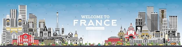 회색 건물과 푸른 하늘이 있는 프랑스 스카이라인에 오신 것을 환영합니다. 벡터 일러스트 레이 션. 역사적인 건축과 관광 개념입니다. 랜드마크가 있는 프랑스 풍경입니다. 툴루즈. 파리. 리옹. 마르세유. 멋진.