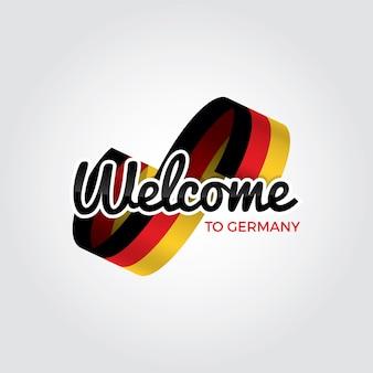 독일에 오신 것을 환영합니다, 흰색 배경에 벡터 일러스트 레이 션