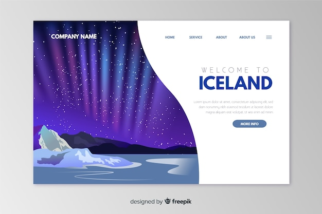 Добро пожаловать в шаблон посадочной страницы исландии